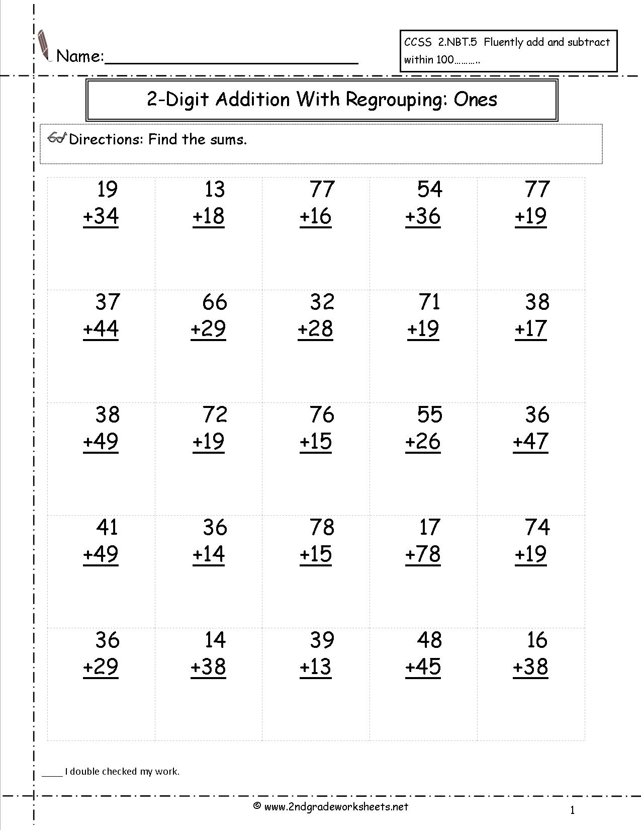 Free Math Worksheets And Printouts | Second Grade Printable Worksheets