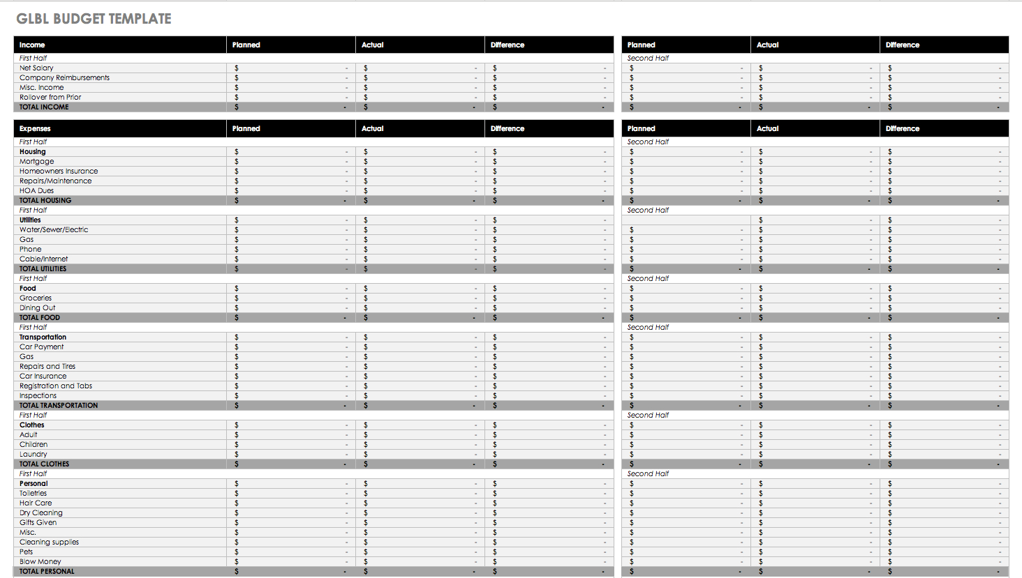 Free Monthly Budget Templates | Smartsheet | Free Printable Monthly Budget Worksheets