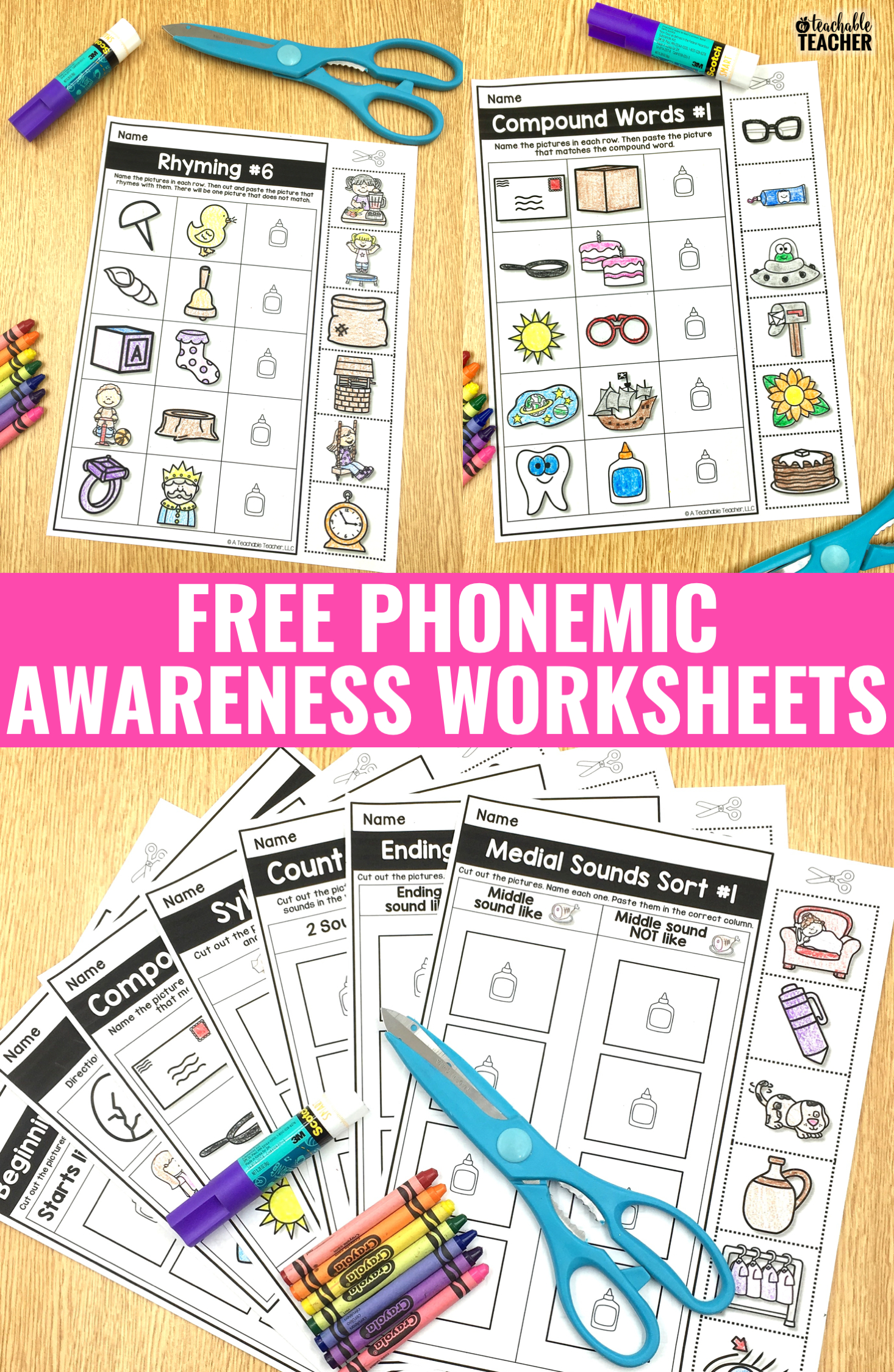 Free Phonemic Awareness Worksheets - Interactive And Picture-Based | Free Printable Phoneme Segmentation Worksheets