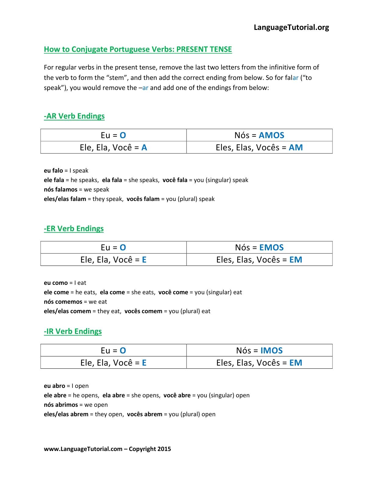 Free Portuguese Worksheets - Online & Printable | Free Printable Portuguese Worksheets