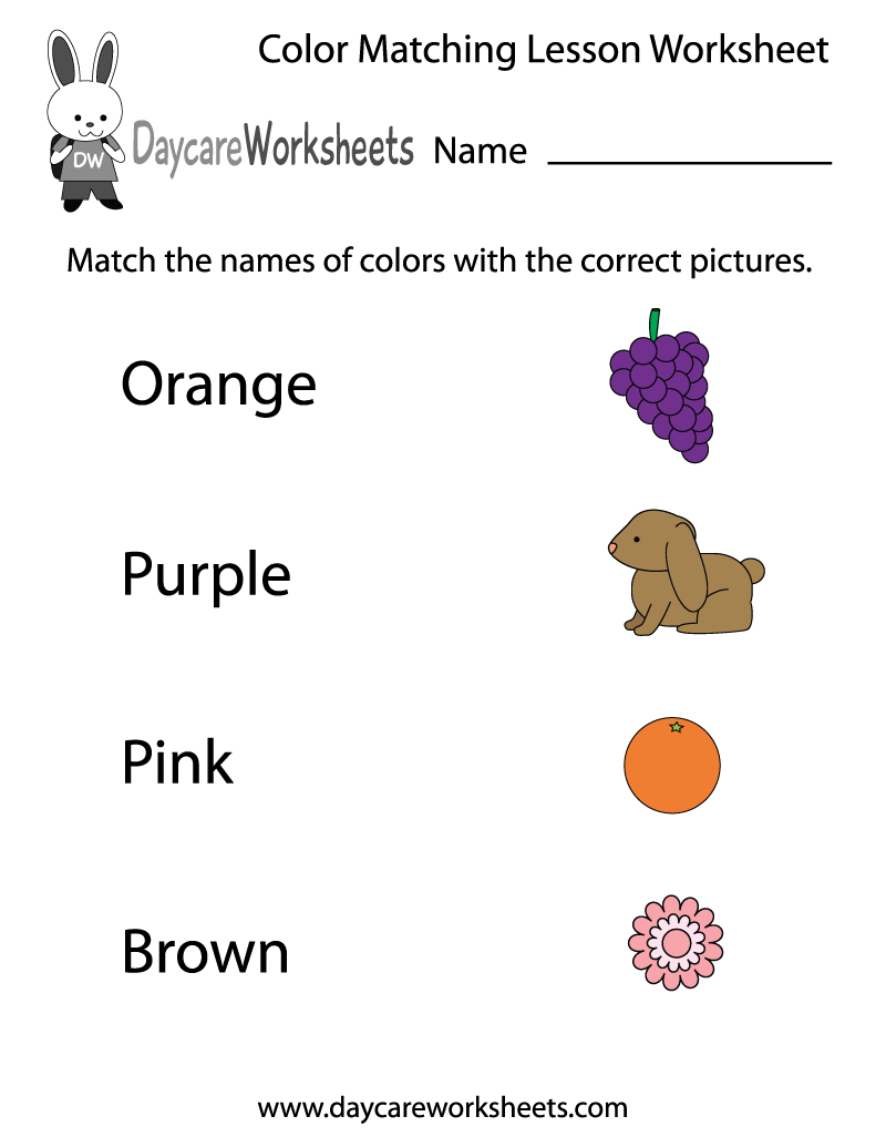 Free Preschool Color Matching Lesson Worksheet | Learning Colors Printable Worksheets