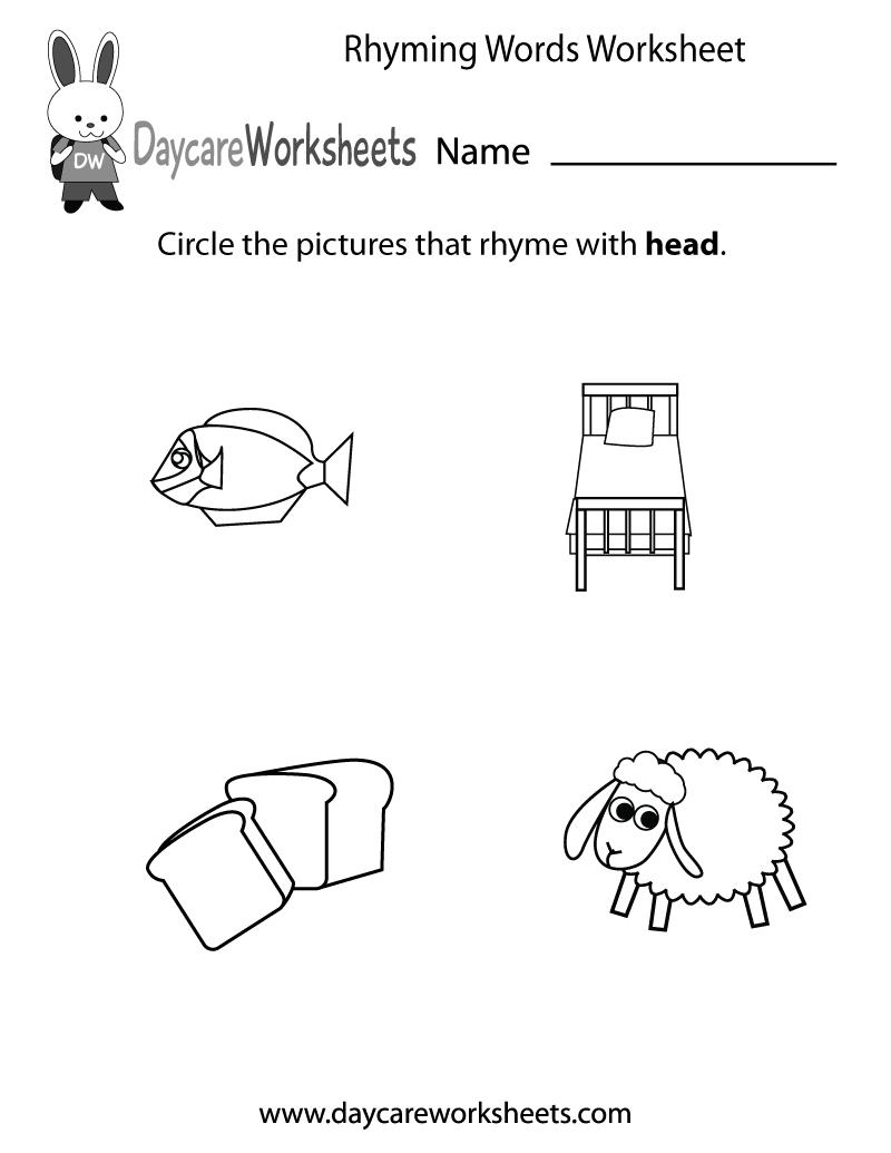 Free Preschool Rhyming Practice Worksheet | Free Printable Rhyming Words Worksheets