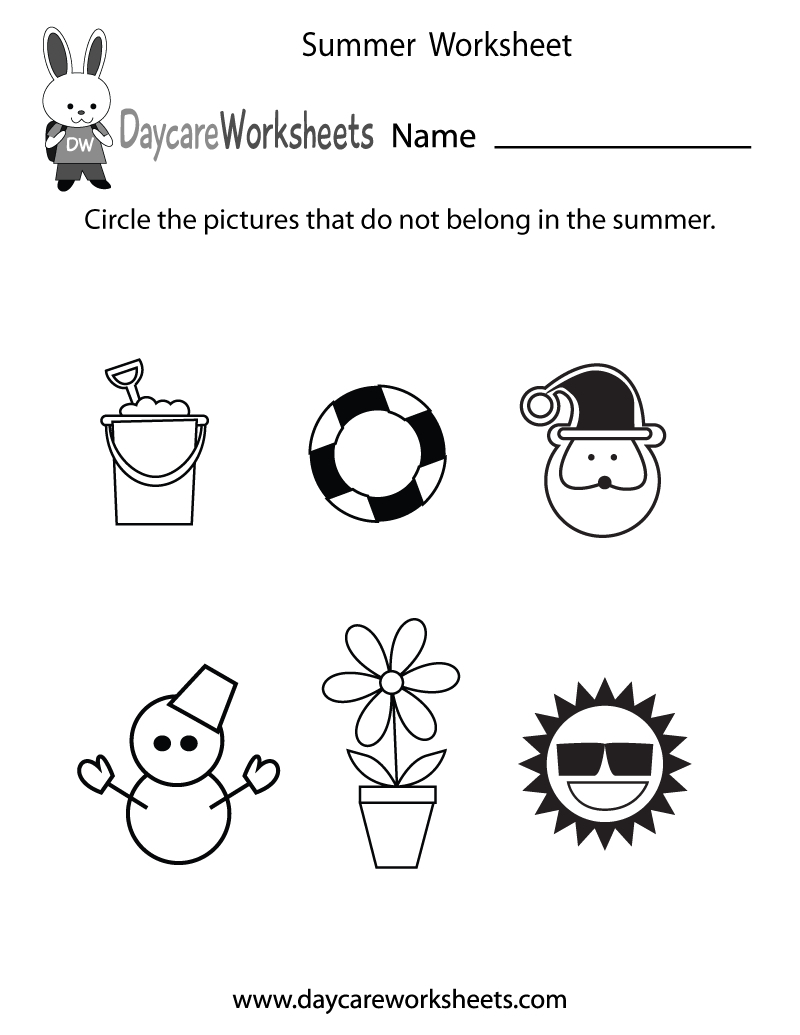 Free Preschool Summer Worksheet - Free Printable Seasons Worksheets | Free Printable Seasons Worksheets