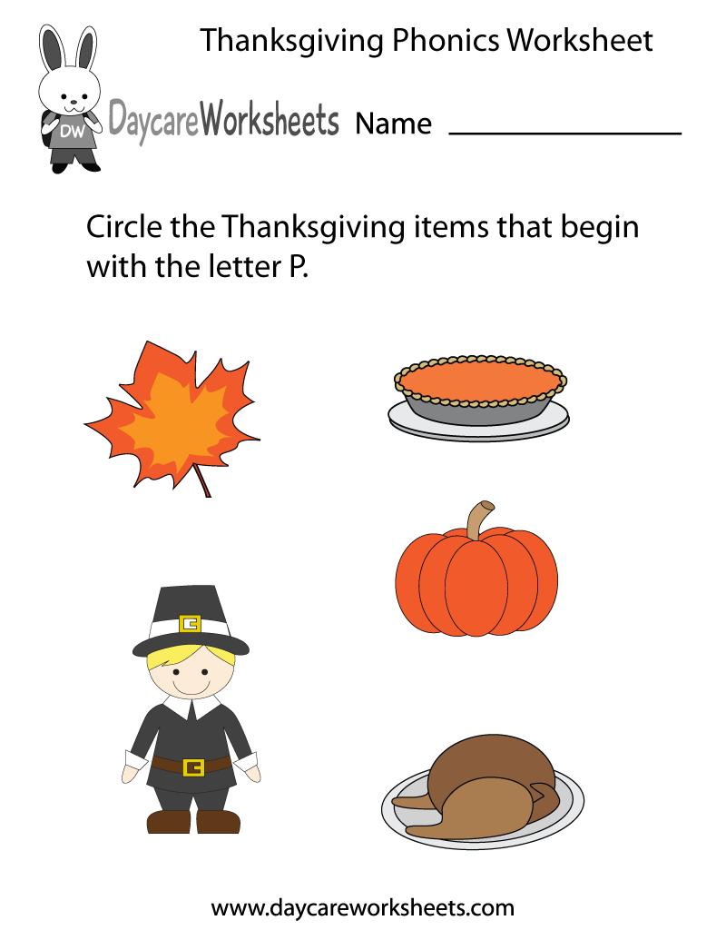 Free Preschool Thanksgiving Phonics Worksheet | Free Printable Preschool Thanksgiving Worksheets