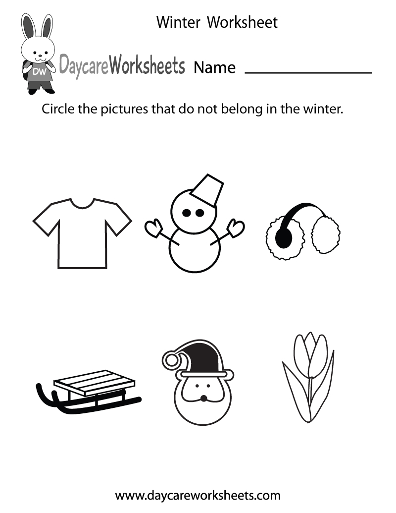 Free Preschool Winter Worksheet | Printable Winter Math Worksheets