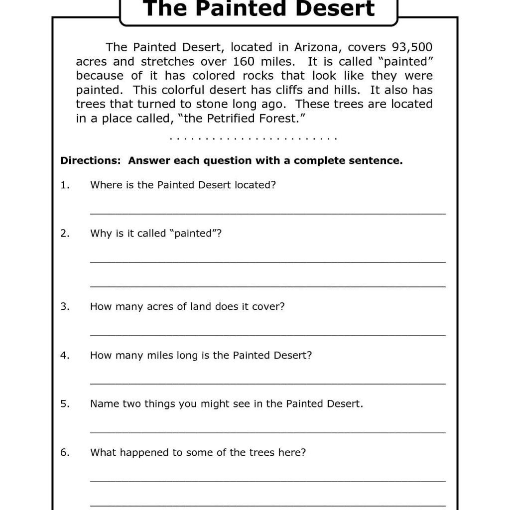Free Printable 7Th Grade Reading Comprehension Worksheets Grade 3 | Printable Comprehension Worksheets For Grade 3