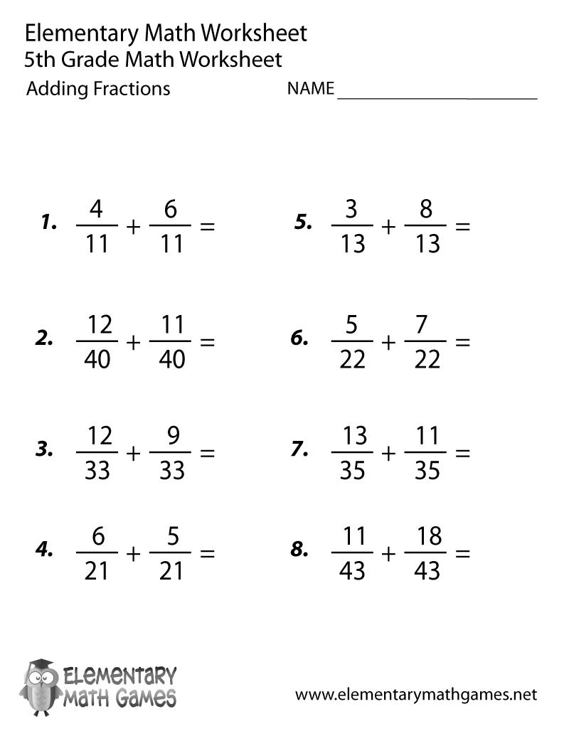 Free Printable Adding Fractions Worksheet For Fifth Grade   5Th Grade Printable Worksheets