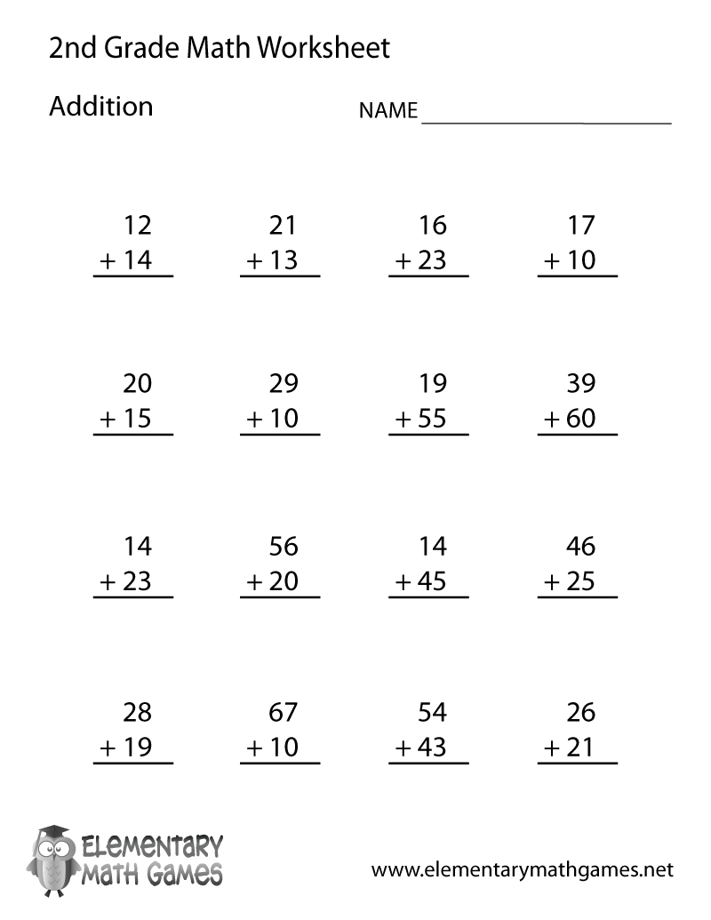 Free Printable Addition Worksheet For Second Grade | Second Grade Printable Worksheets