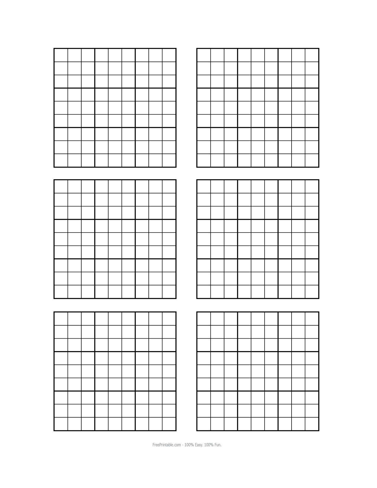 Free Printable Blank Sudoku Grids | Misc Stuff | Grid Paper | Printable Grids Worksheets
