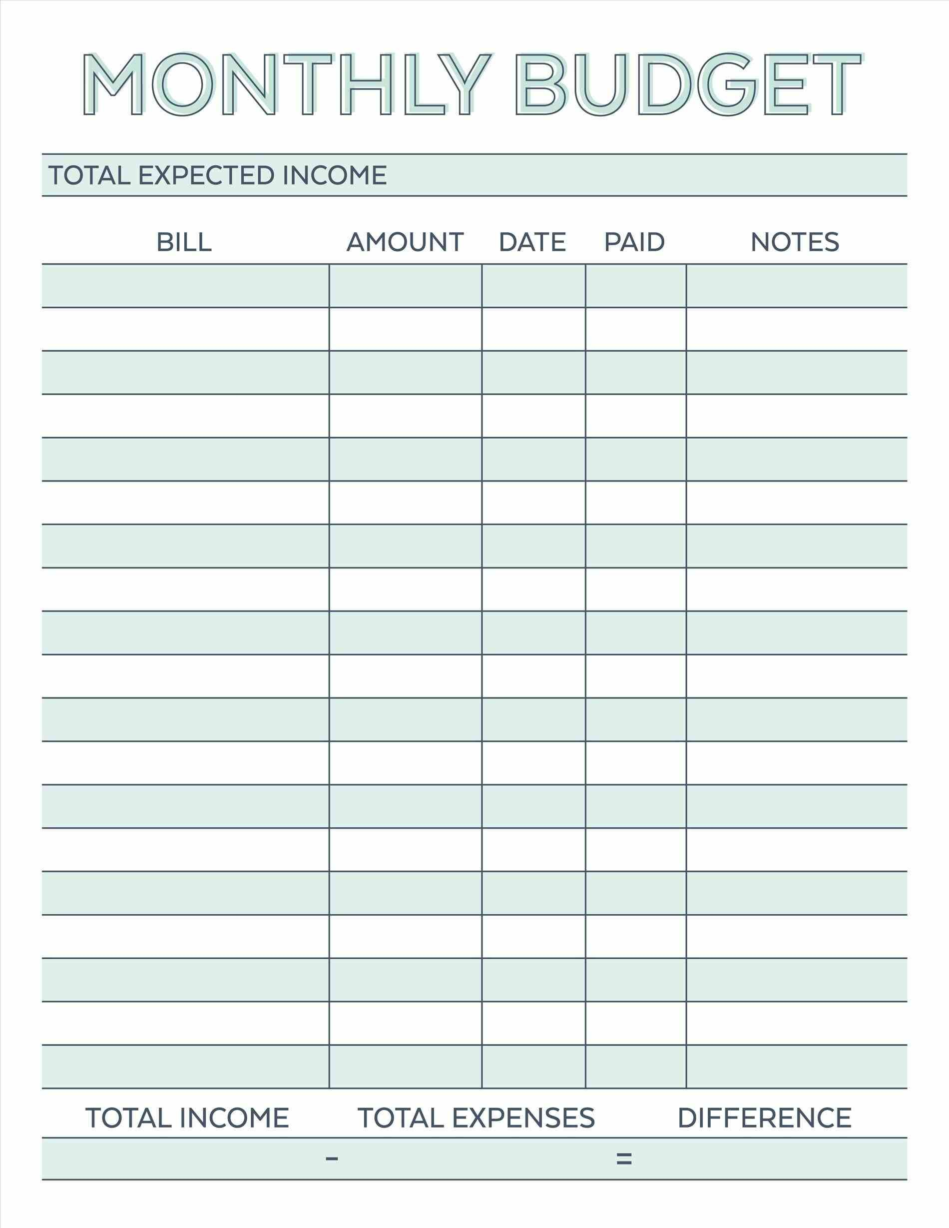Free Printable Budget Worksheet Template - Koran.sticken.co | Vacation Budget Worksheet Printable