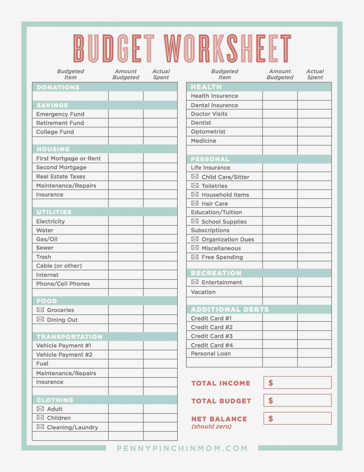Free Printable Budget Worksheets Dave Ramsey Unique Bud Worksheet | Free Printable Budget Worksheets