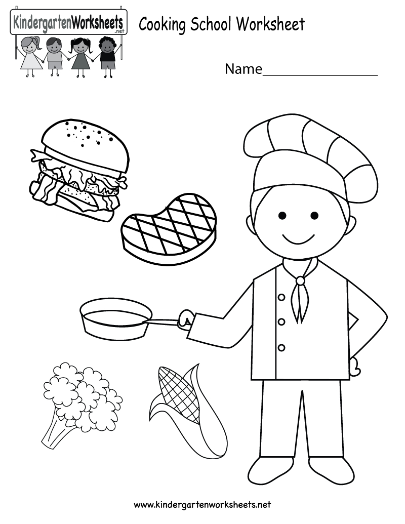 Free Printable Cooking School Worksheet For Kindergarten | Free Printable Cooking Worksheets