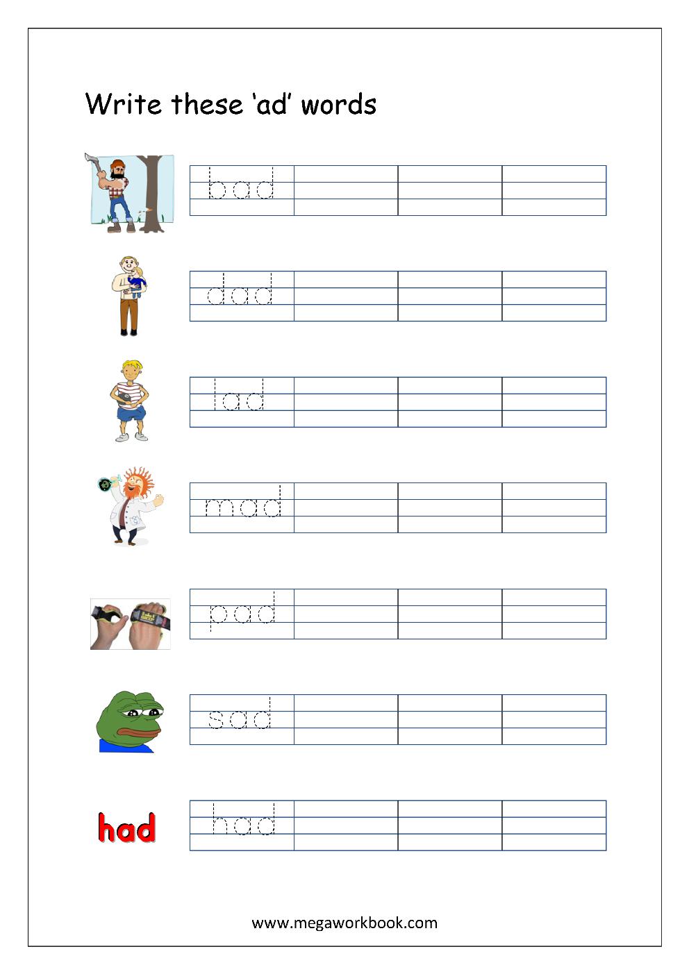 Free Printable Cvc Words Writing Worksheets For Kids - Three Letter | Cvc Words Worksheets Free Printable