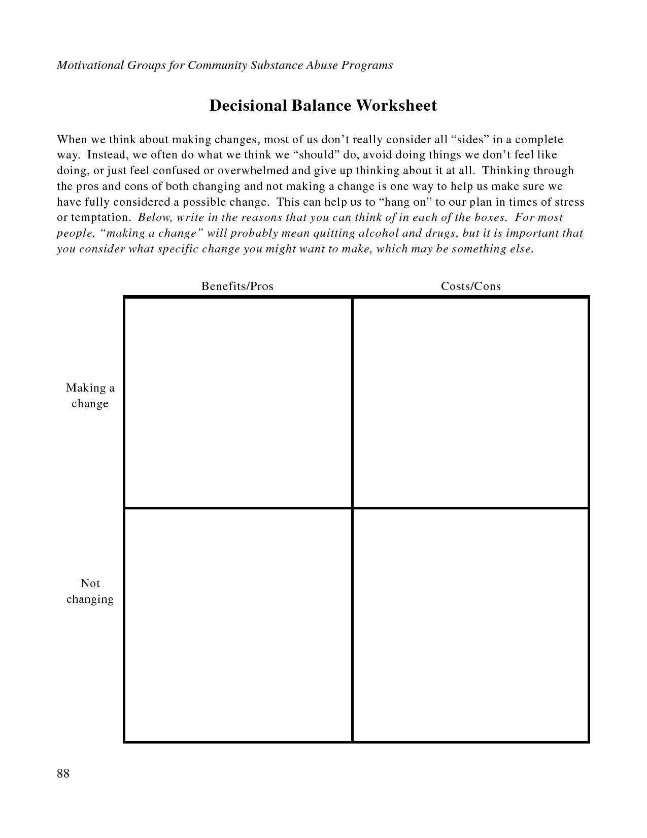 Free Printable Dbt Worksheets | Decisional Balance Worksheet - Pdf | Free Printable Counseling Worksheets