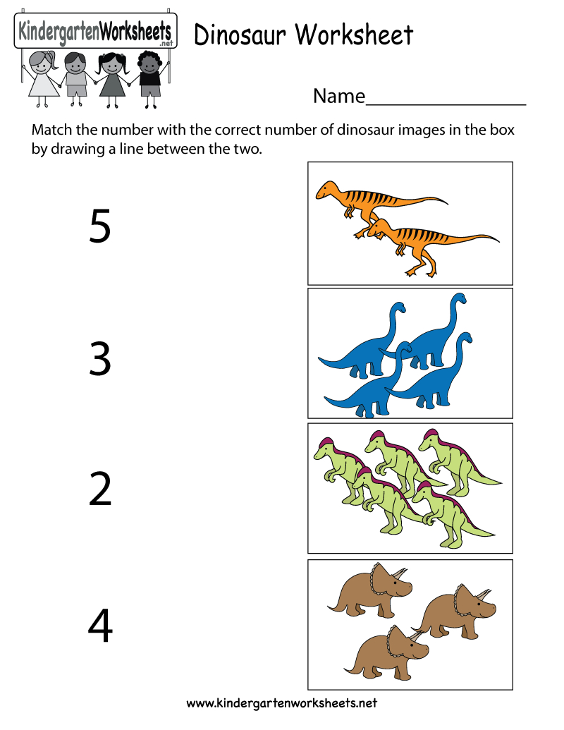 Free Printable Dinosaur Worksheet For Kindergarten | Dinosaur Printable Worksheets