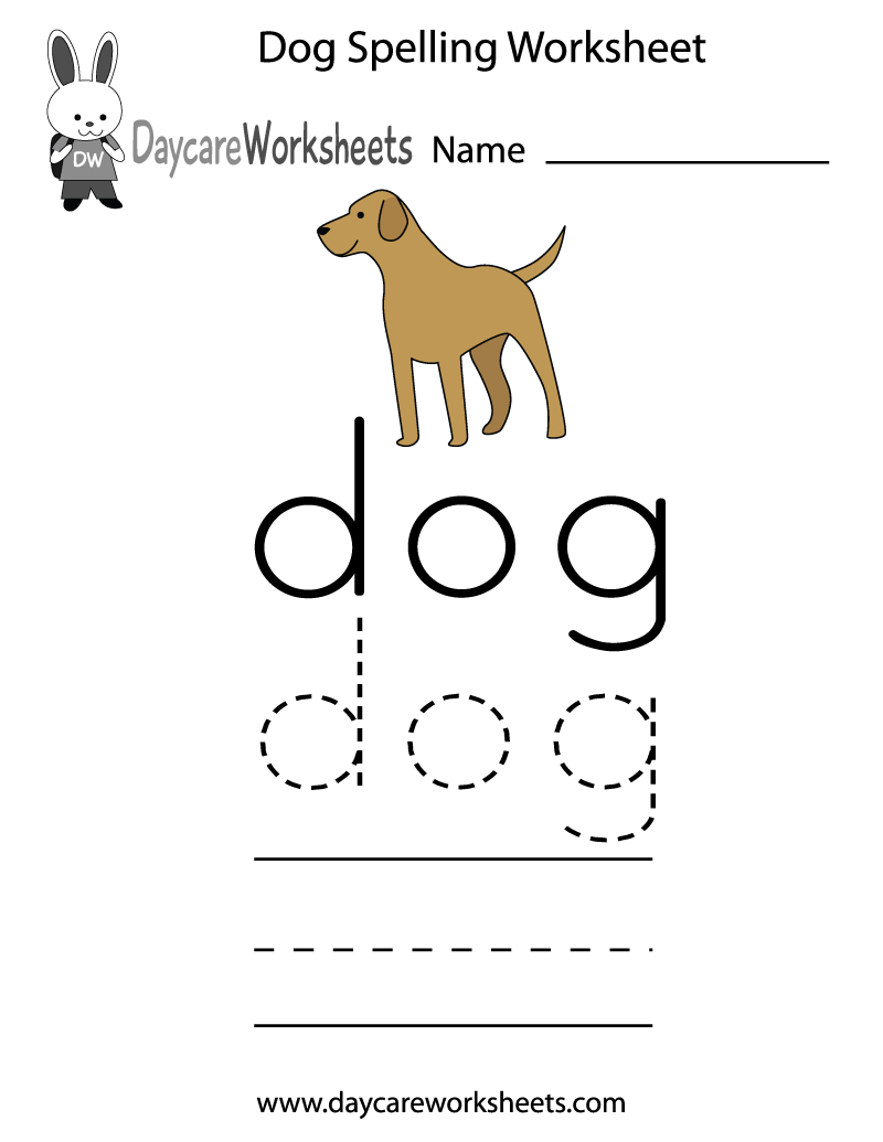 Free Printable Dog Spelling Worksheet For Preschool | Free Printable Pet Worksheets