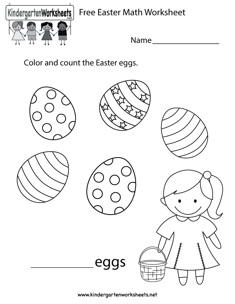 Free Printable Easter Math Worksheet For Kindergarten | Free Printable Easter Worksheets For Preschoolers