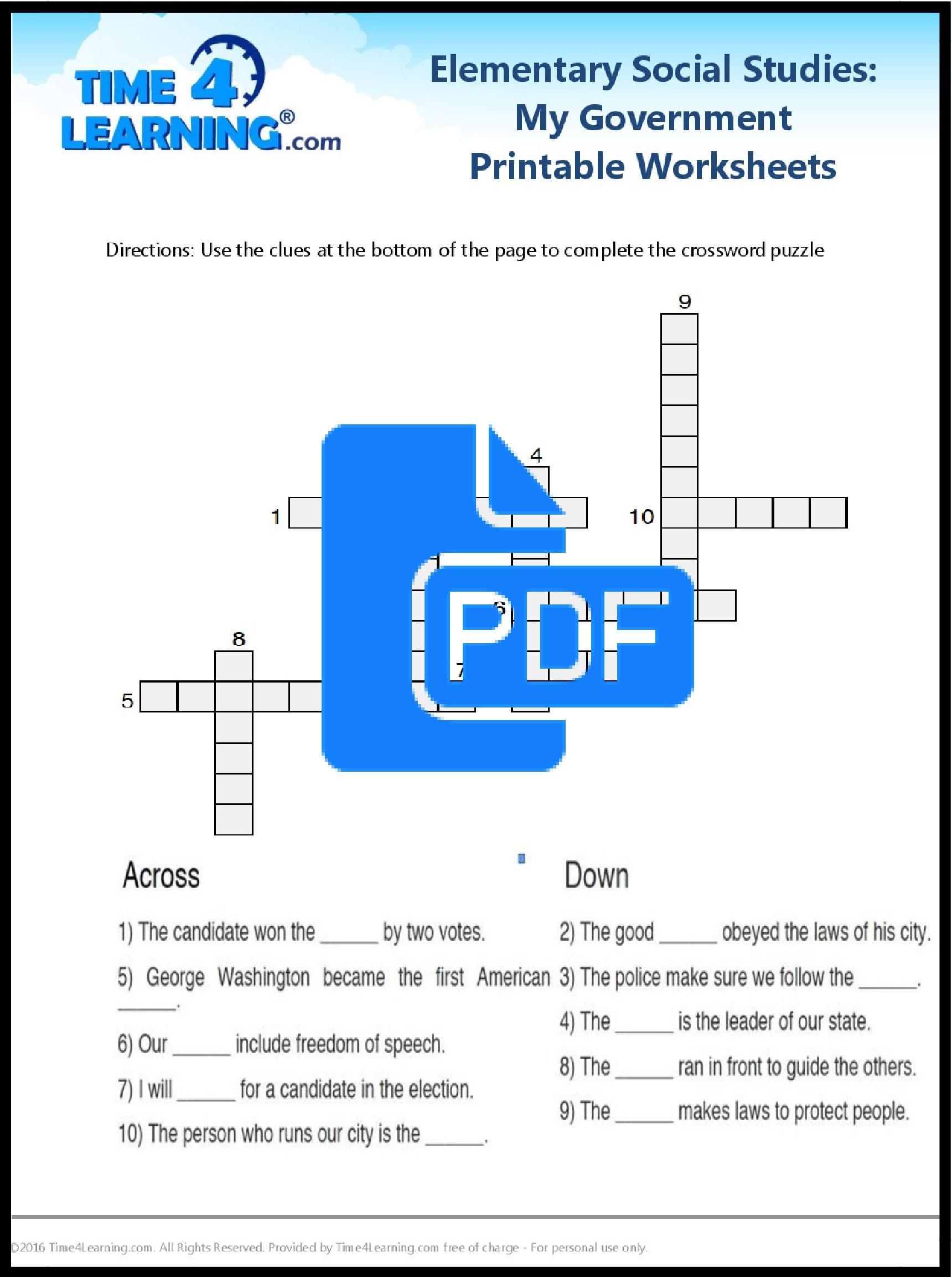 Free Printable: Elementary Social Studies Worksheet   Time4Learning   Elementary Social Studies Worksheets Printable