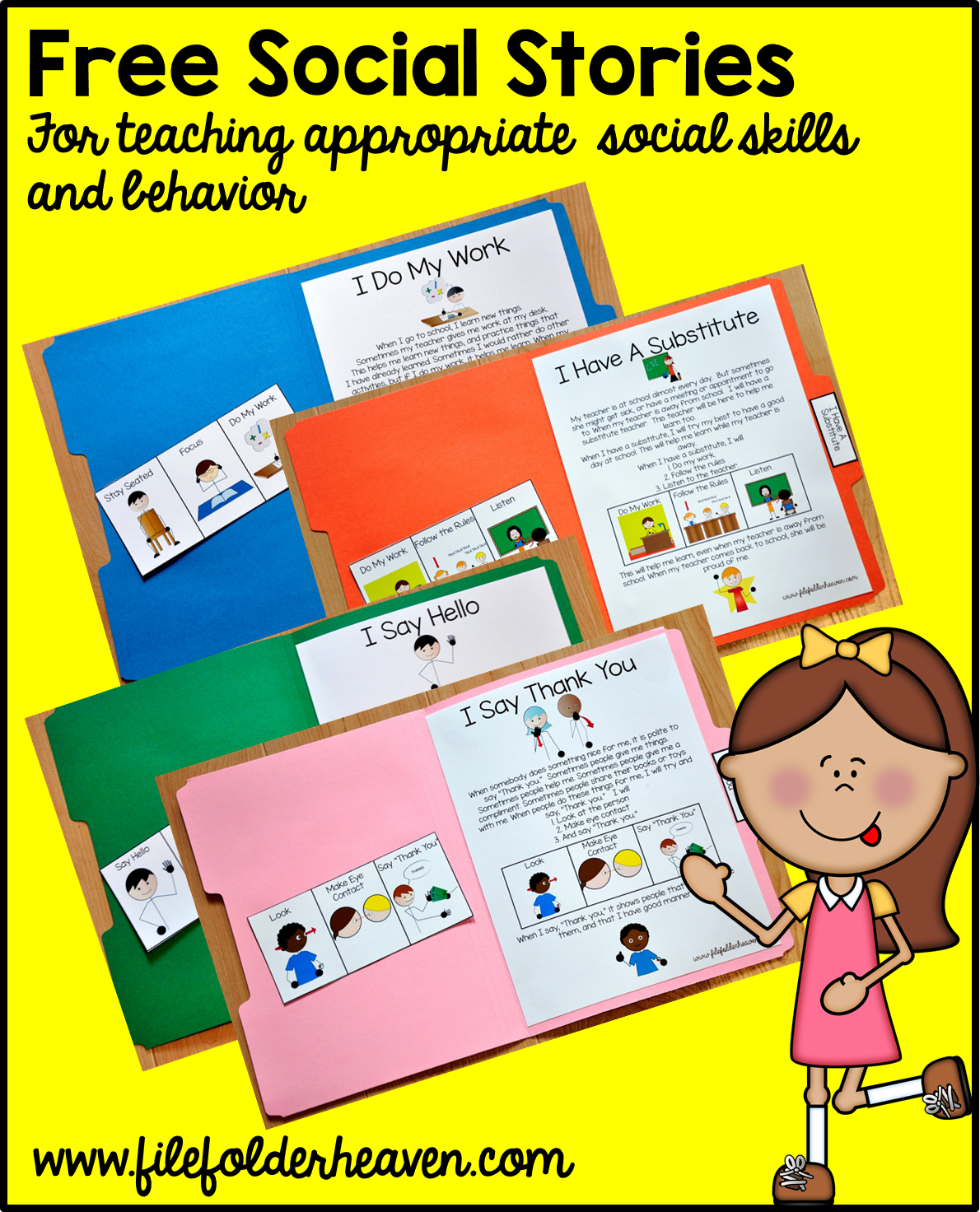 """Free, Printable """"folder Stories."""" Simple One Page Social Stories 