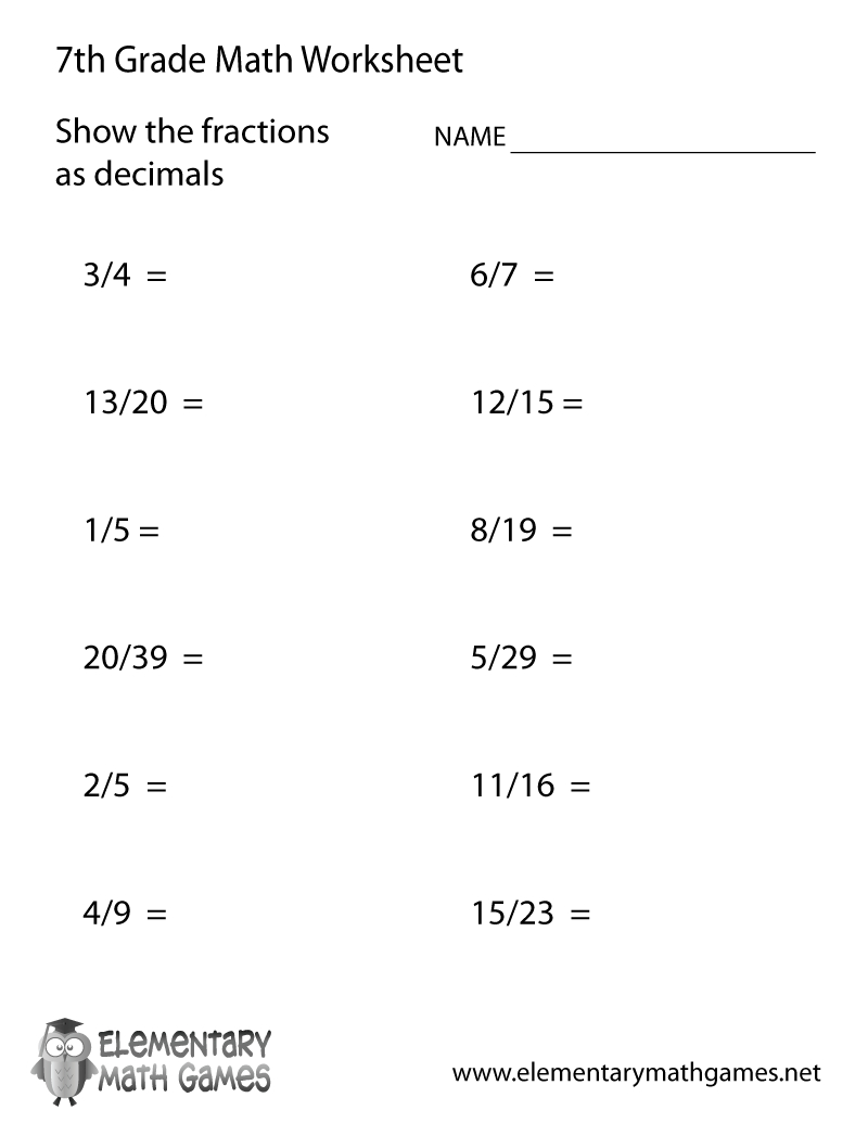 Free Printable Fractions And Decimals Worksheet For Seventh Grade | Fractions To Decimal Worksheets Printable