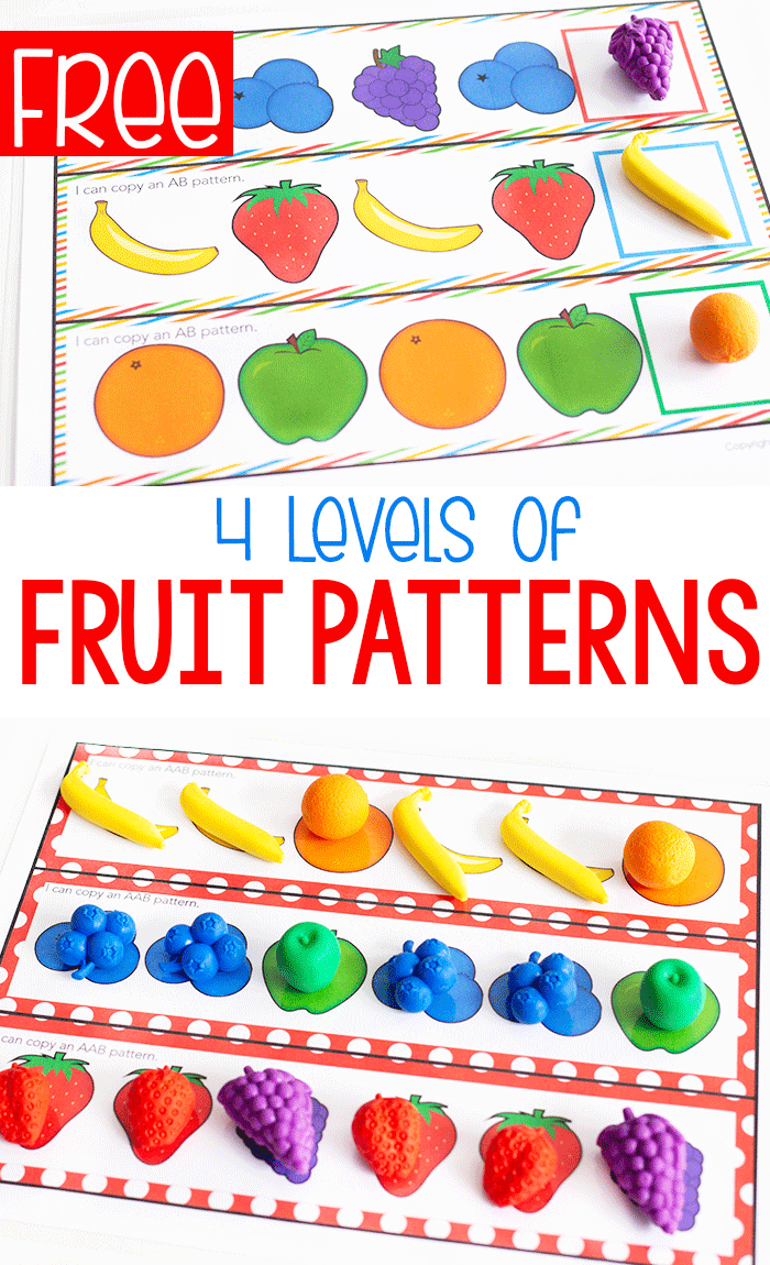 Free Printable Fruit Themed Pattern Activity - Life Over Cs | Free Printable Ab Pattern Worksheets