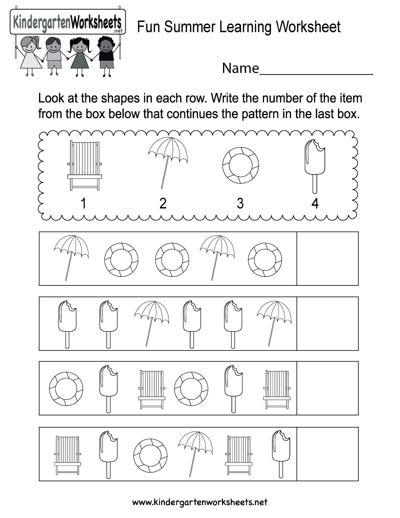 Free Printable Fun Summer Learning Worksheet For Kindergarten | Free Printable Fun Worksheets For Kindergarten