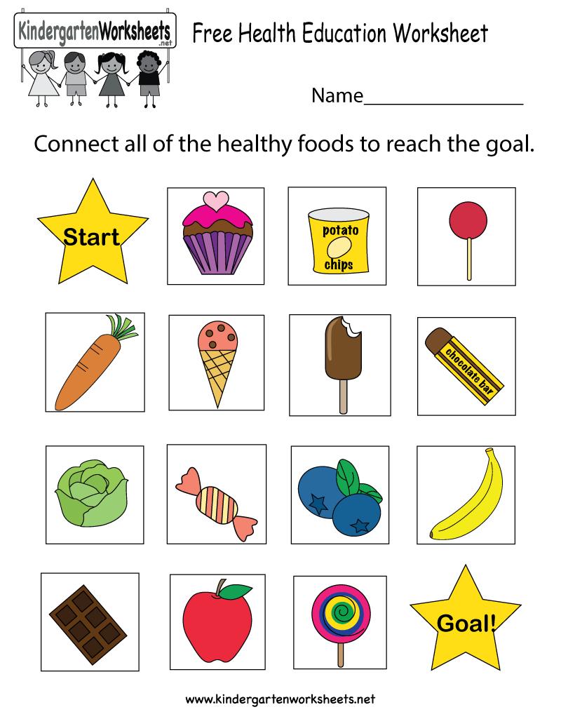 Free Printable Health Education Worksheet For Kindergarten | Free Printable Healthy Eating Worksheets