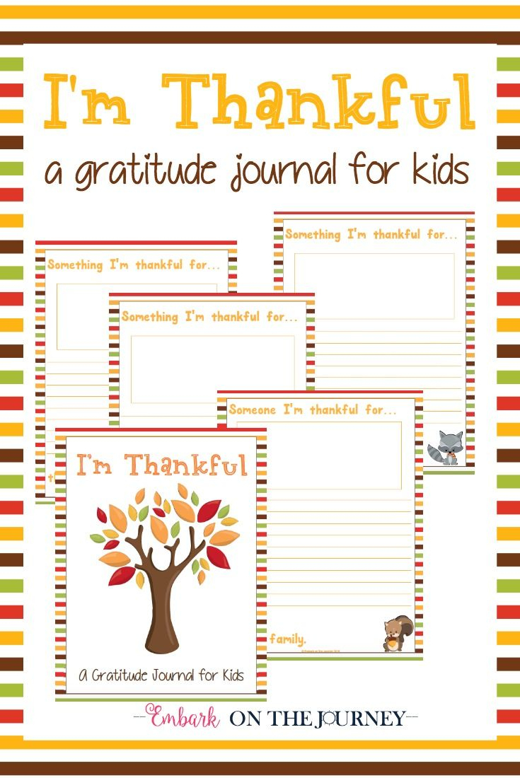"Free Printable ""i'm Thankful"" Gratitude Journal For Kids 