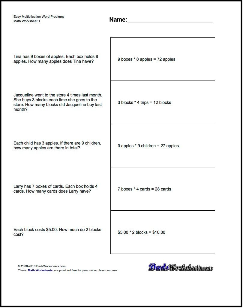 Free Printable Introductory Word Problem Worksheets For Addition For | 3Rd Grade Multiplication Word Problems Worksheets Printable