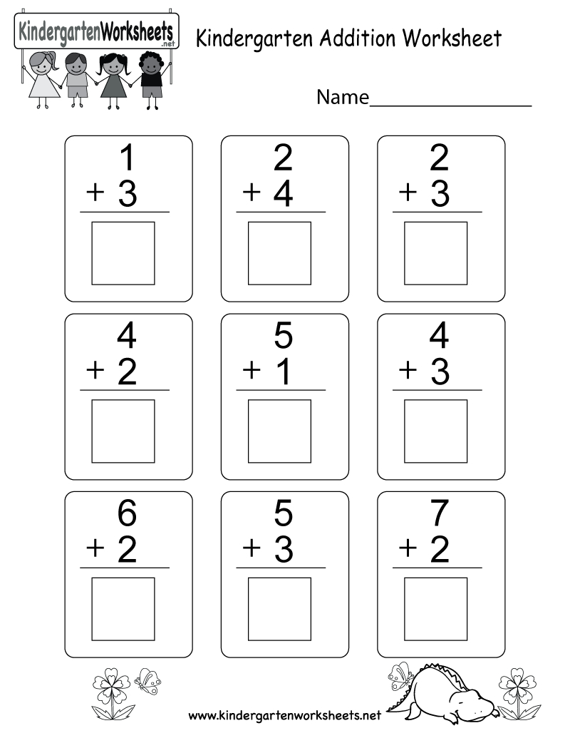 Free Printable Kindergarten Addition Worksheet | Printable Addition Worksheets Kindergarten