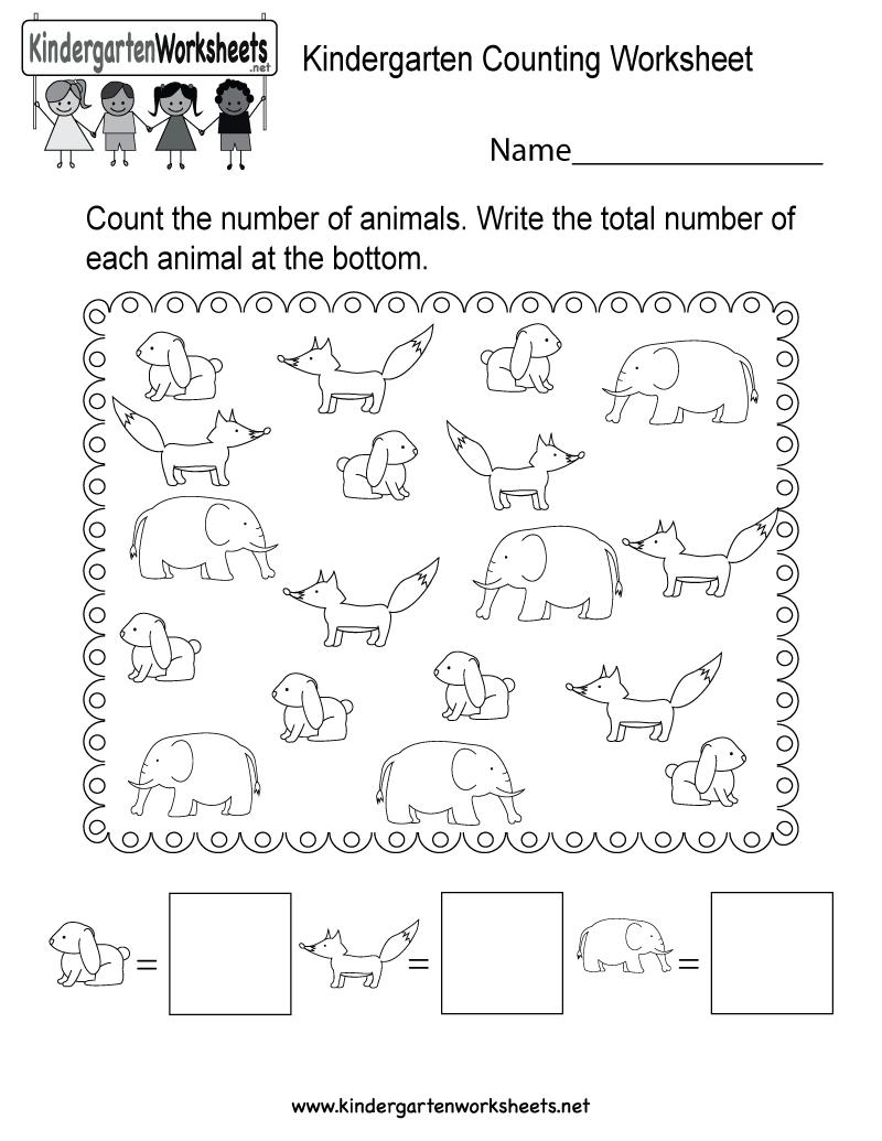 Free Printable Kindergarten Counting Worksheet | Counting Printable Worksheets For Kindergarten