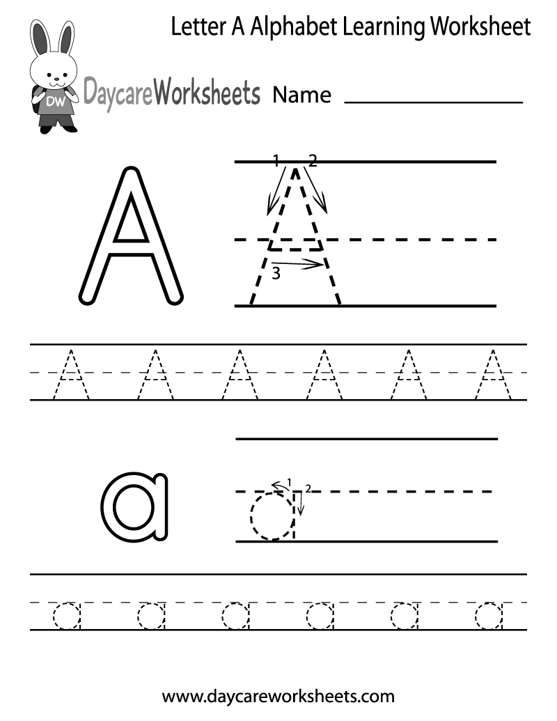 Free Printable Letter A Alphabet Learning Worksheet For Preschool | Printable Letter Worksheets For Preschoolers