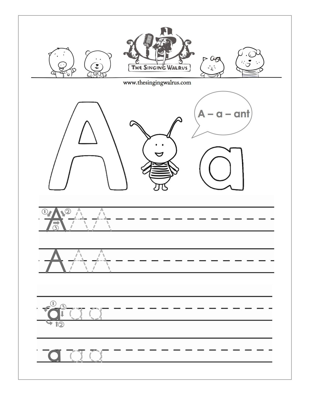 Free Printable Letter A Practice Sheet For Kids, A Combination Of | Free Printable Letter Practice Worksheets