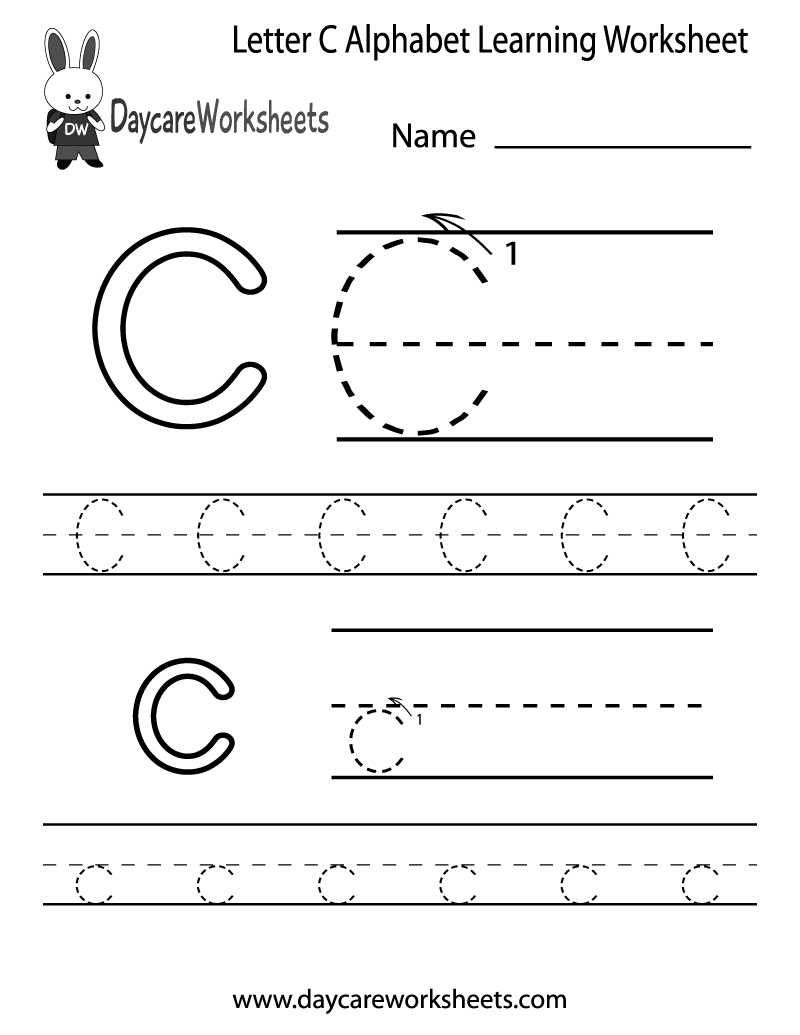 Free Printable Letter C Alphabet Learning Worksheet For Preschool | Free Printable Letter A Worksheets For Pre K