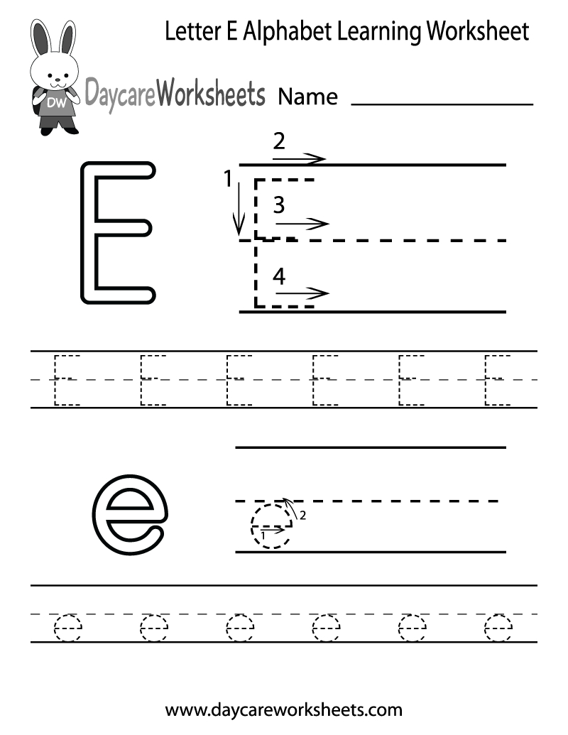Free Printable Letter E Alphabet Learning Worksheet For Preschool | Letter E Free Printable Worksheets