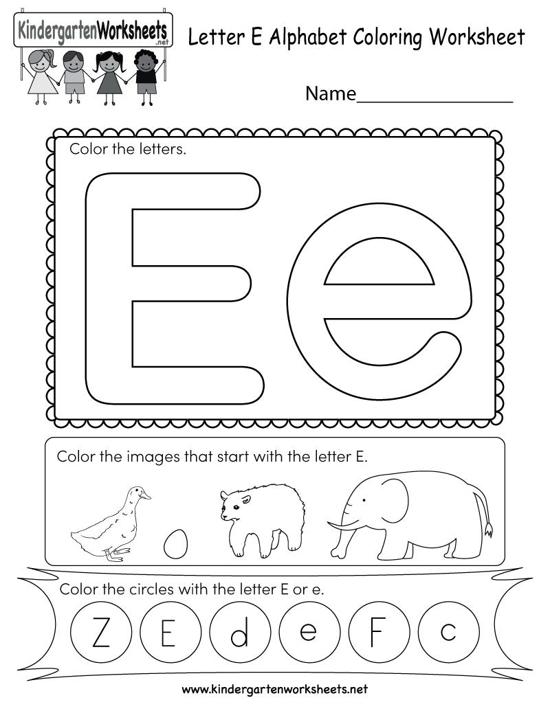 Free Printable Letter E Coloring Worksheet For Kindergarten | Letter E Free Printable Worksheets