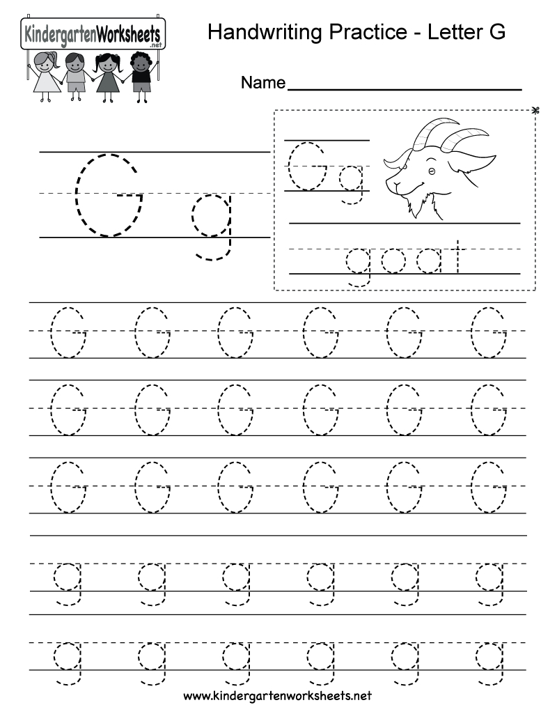 Free Printable Letter G Writing Practice Worksheet For Kindergarten | Letter G Printable Worksheets