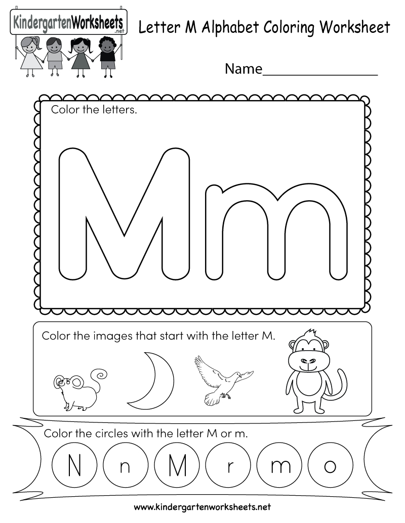 Free Printable Letter M Coloring Worksheet For Kindergarten | Letter M Printable Worksheets
