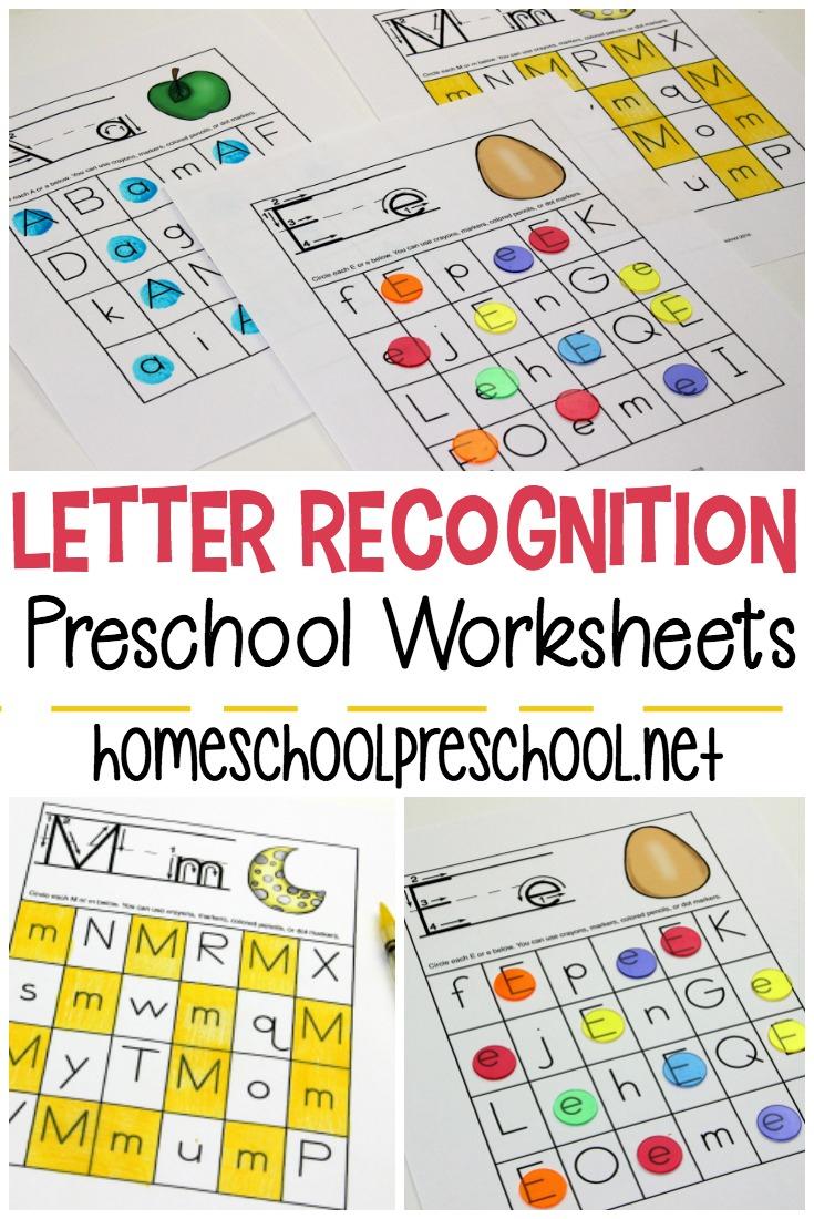 Free Printable Letter Recognition Worksheets For Preschoolers | Free Printable Letter Recognition Worksheets