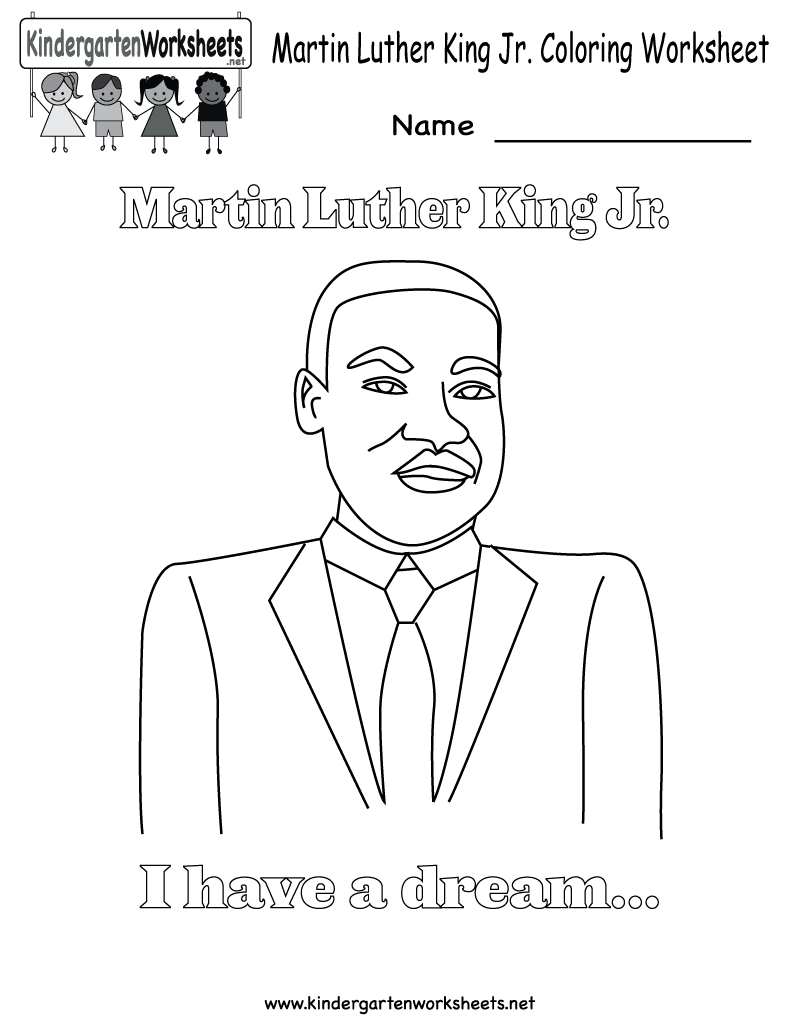 Free Printable Martin Luther King Jr. Coloring Worksheet For | Martin Luther King Free Printables Worksheets