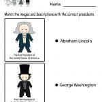 Free Printable Match The Presidents Worksheet For Kindergarten | Free Printable President Worksheets