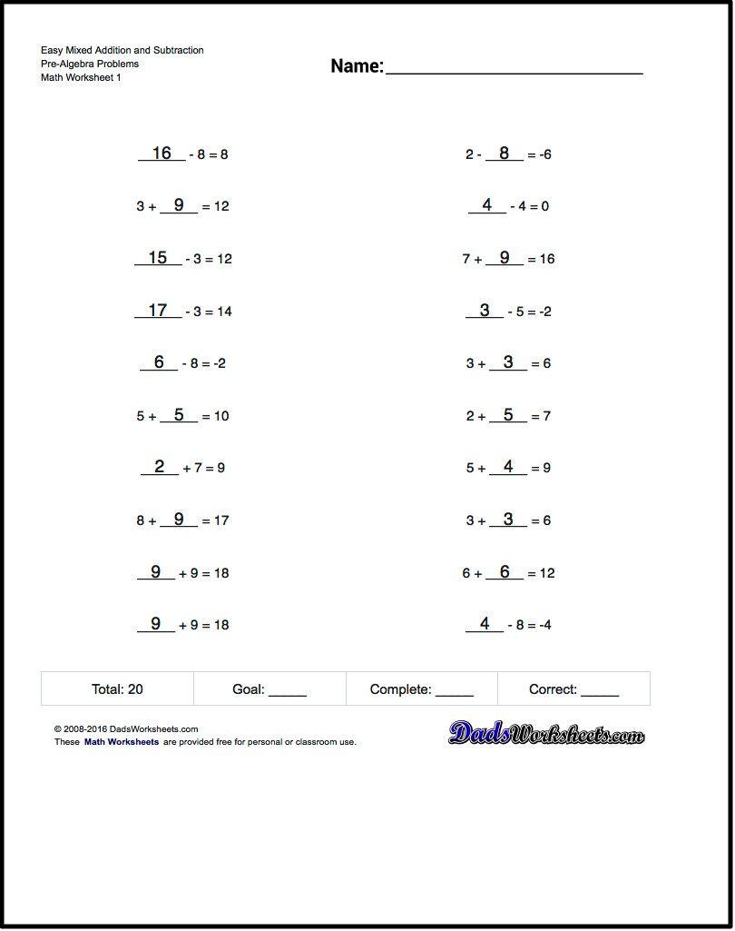 Free Printable Math Worksheets For Pre-Algebra Problems With Answer | Free Printable Math Worksheets Pre Algebra