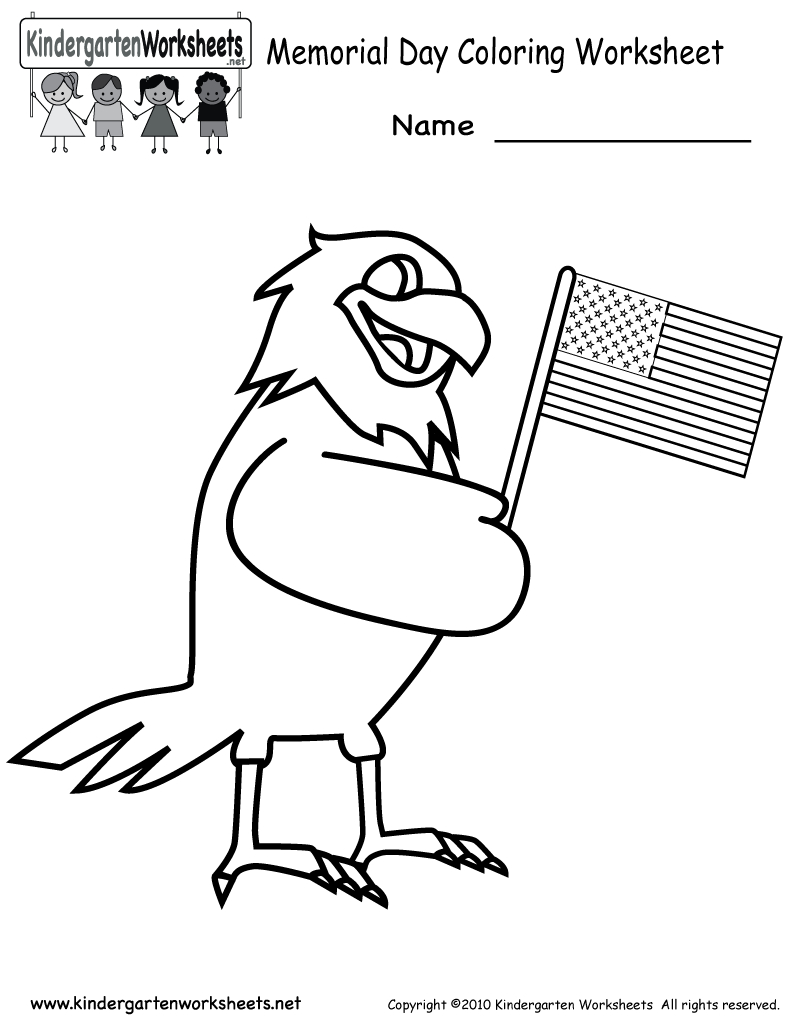 Free Printable Memorial Day Coloring Worksheet For Kindergarten | Memorial Day Free Printable Worksheets