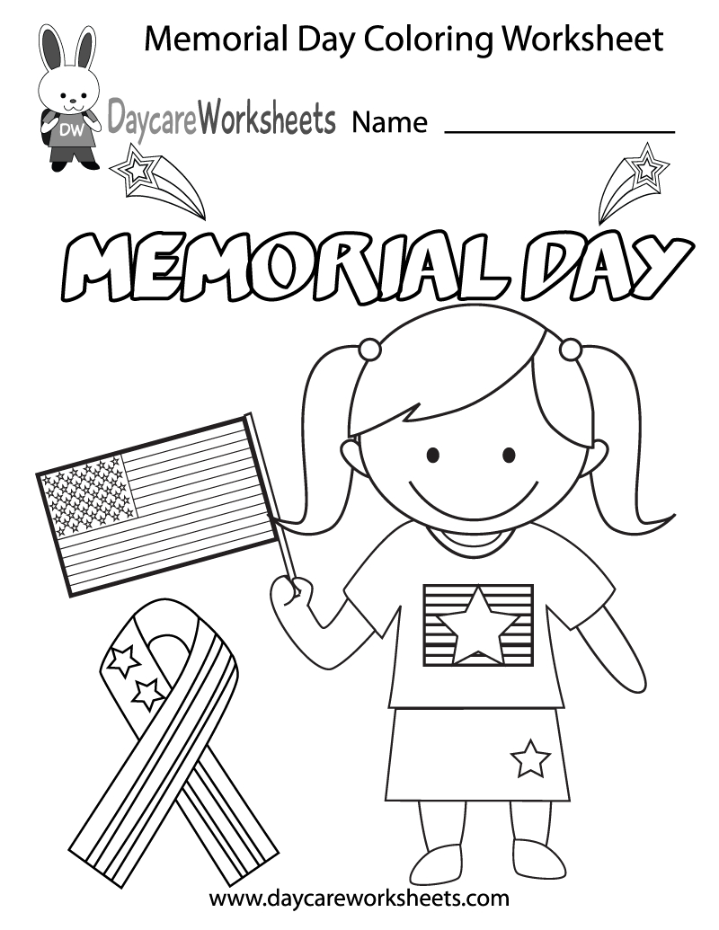Free Printable Memorial Day Coloring Worksheet For Preschool   Memorial Day Free Printable Worksheets