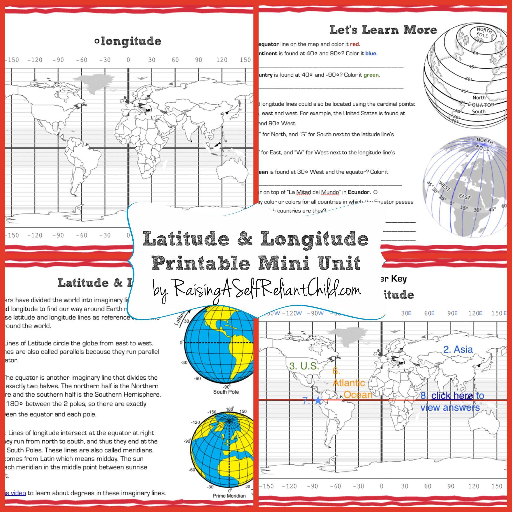 Free Printable Mini Unit Latitude And Longitude For Kids | The | Latitude Longitude Printable Worksheets
