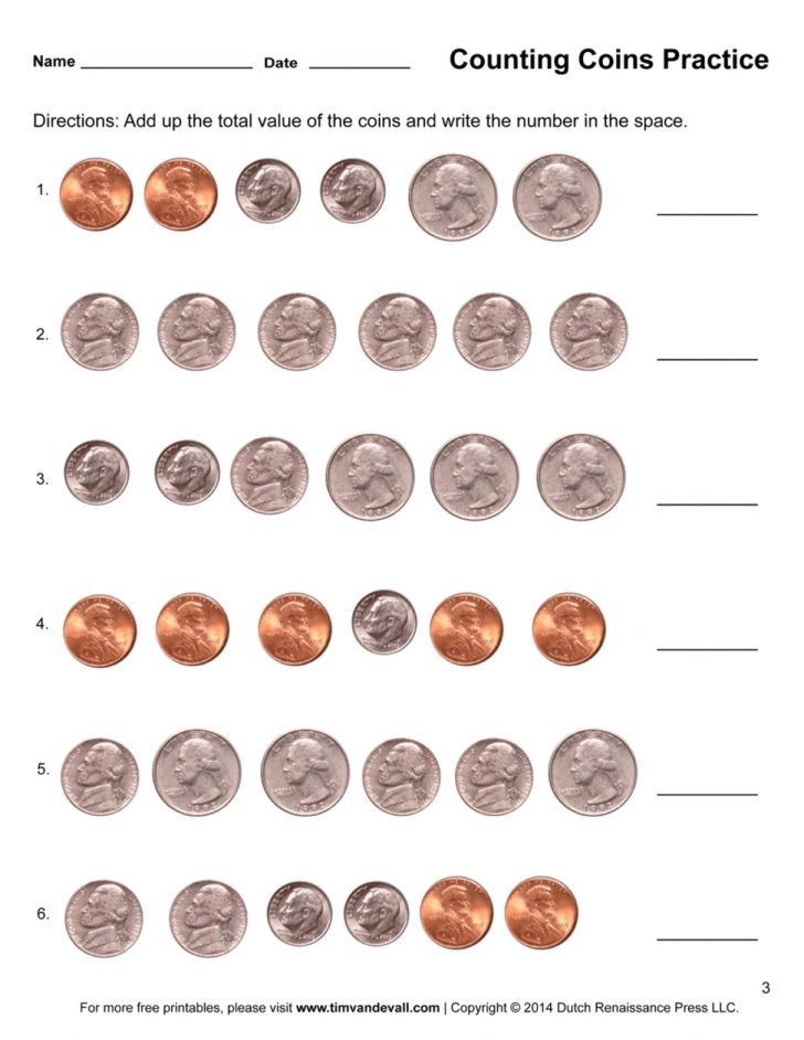 Free Printable Money Worksheets For 1St Grade