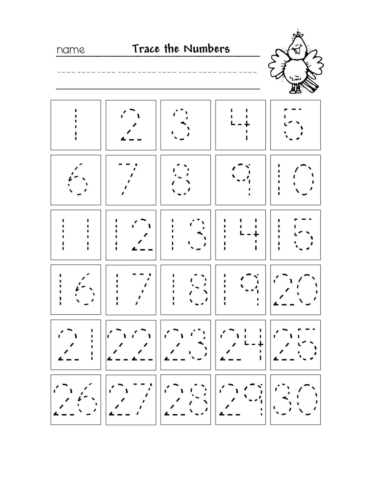 Free Printable Number Chart 1-30 | Kinder | Kindergarten Worksheets | Free Printable Number Worksheets