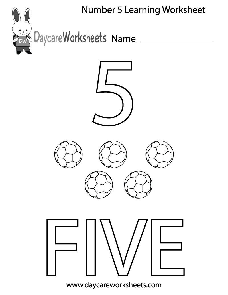 Free Printable Number Five Learning Worksheet For Preschool | Daycare Worksheets Printable