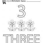 Free Printable Number Three Learning Worksheet For Preschool | Daycare Worksheets Printable