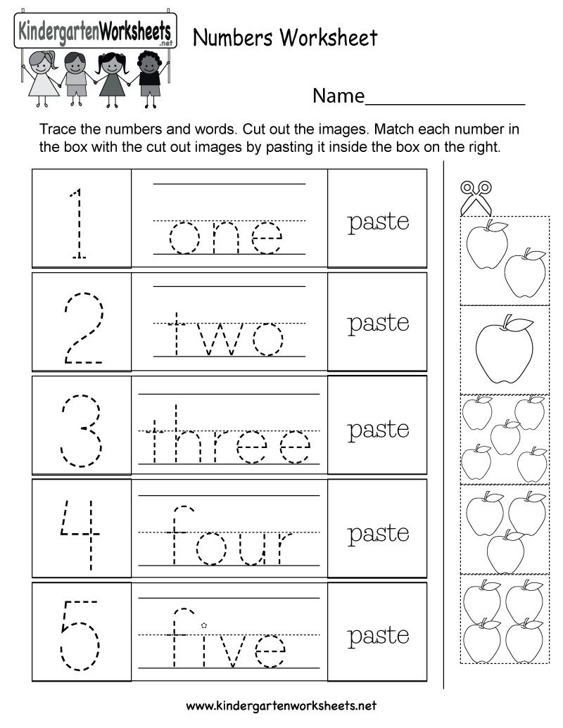 Free Printable Numbers Worksheet For Kindergarten | Numbers Printable Worksheets